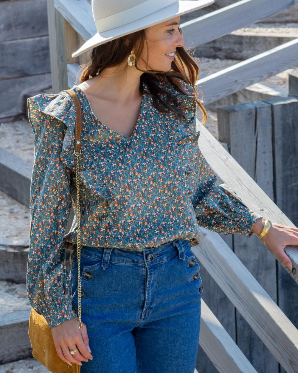 blouse velour cotelé